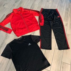 adidas men's track jacket shirt pants Large